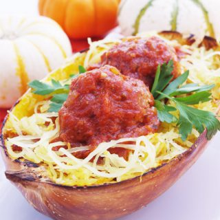 Baked Spaghetti Squash with Meatballs