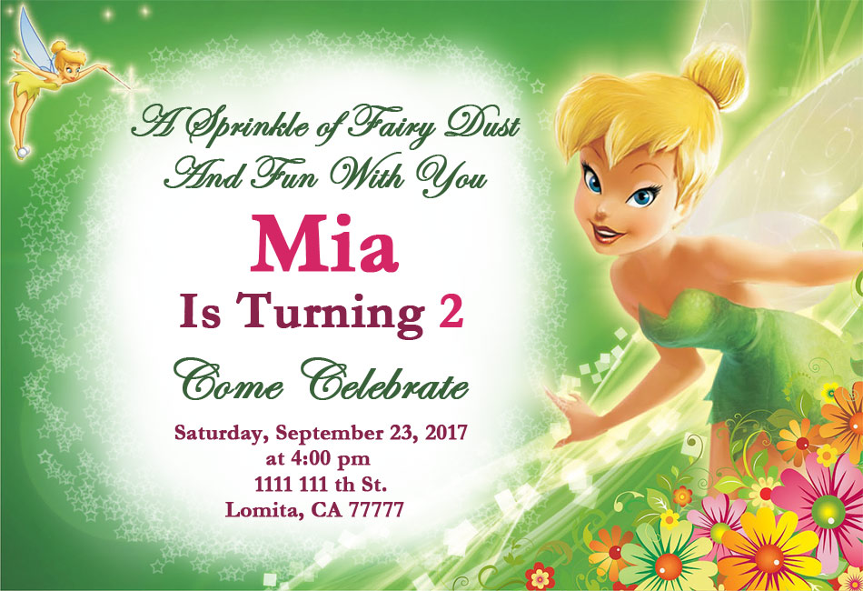 Wonderful tinkerbell birthday party invitations images tinkerbell birthday party mias 2nd birthday stopboris Choice Image